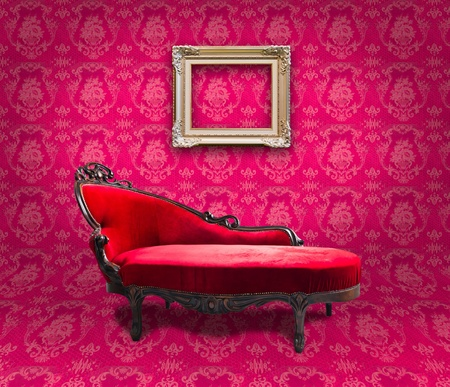 red luxury sofa and frame in pink room photo