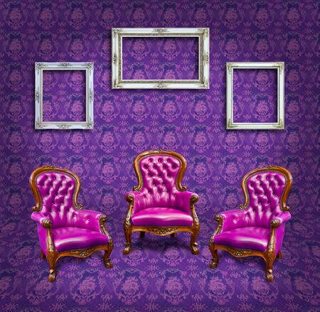 armchair and frame in purple room photo