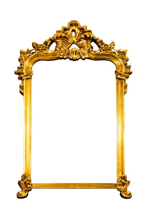 ornamentation: frame of golden isolated with clipping path