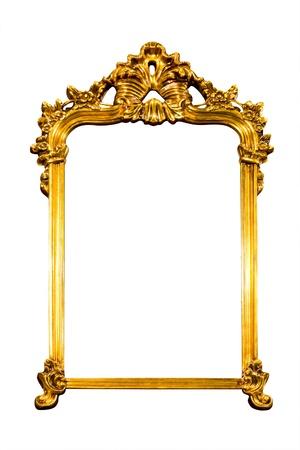 Rahmen des goldenen isoliert mit Beschneidungspfad