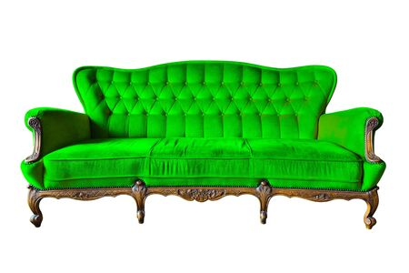 antique chair: vintage green luxury armchair isolated with clipping path