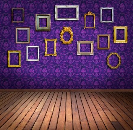 vintage frame in purple wallpaper room photo