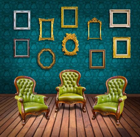 vintage luxury armchair and frame in room photo