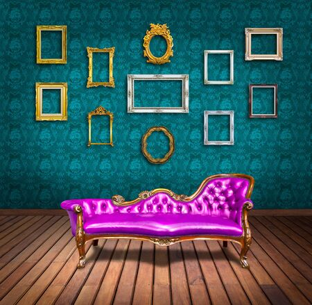 vintage luxury armchair and frame in room Stock Photo - 13104875