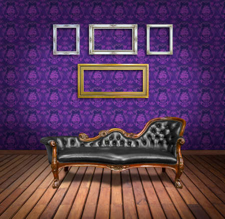 vintage luxury armchair and frame in purple wallpaper room photo