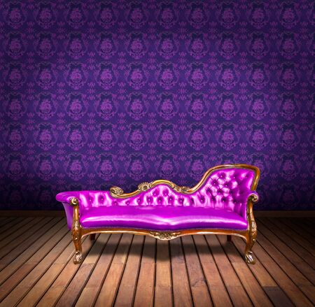 vintage luxury armchair and in purple wallpaper room photo
