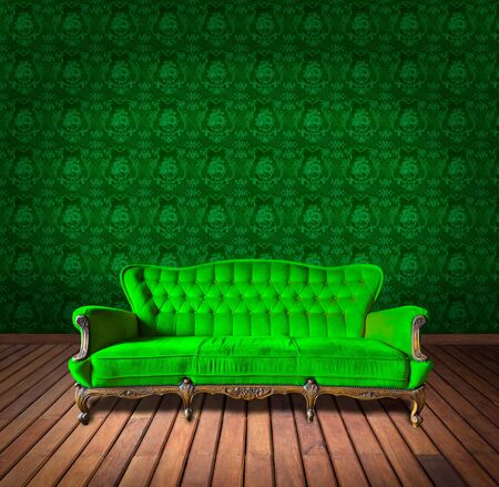 vintage luxury armchair and in green wallpaper room photo