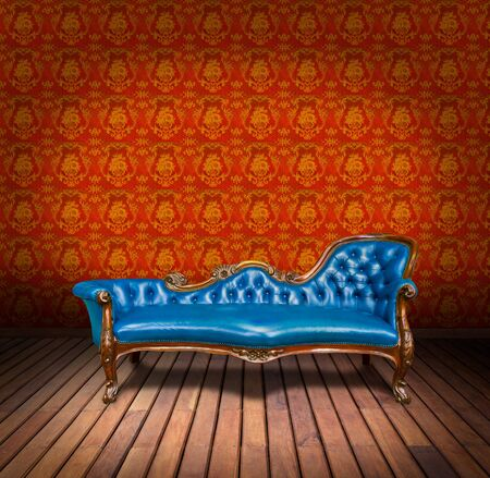 vintage blue luxury armchair and in yellow wallpaper room photo