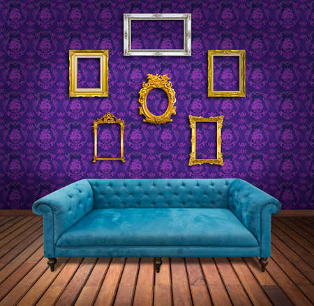 Sofa and frame in pink wallpaper room photo
