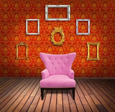 Sofa and frame in yellow wallpaper room photo