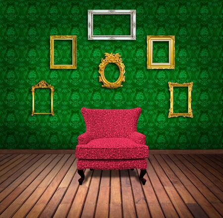 Sofa and frame in green wallpaper room photo