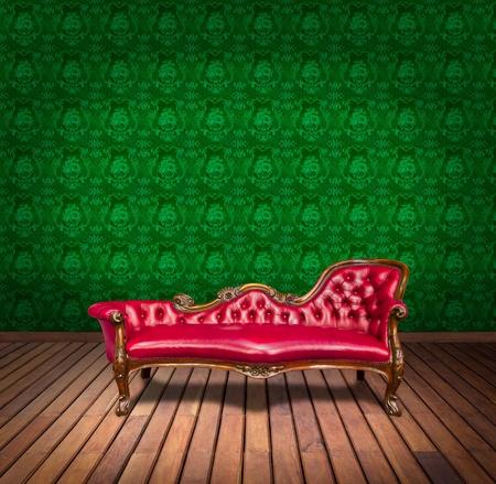 Sofa in green wallpaper room photo