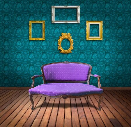 vintage luxury armchair and frame in blue wallpaper room photo