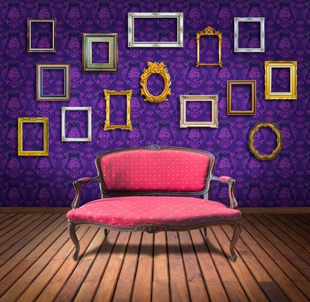 vintage luxury armchair and frame in purple wallpaper room Stock Photo - 13104918