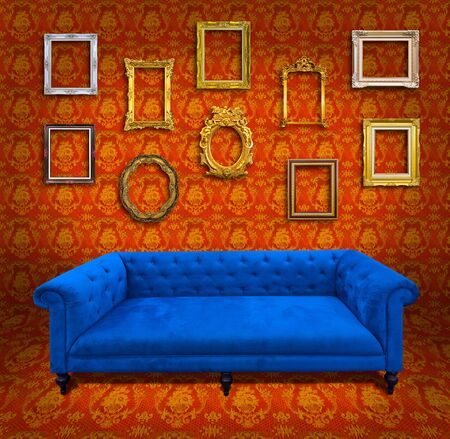 Sofa in yellow wallpaper room photo