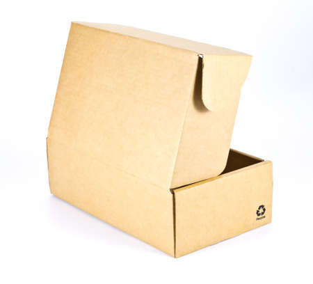 cardboard box on white background photo