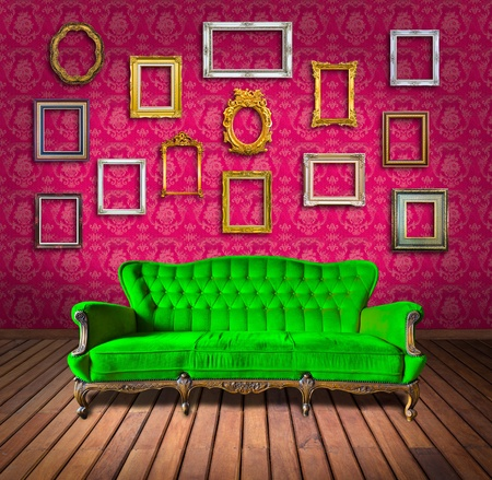 vintage luxury armchair and frame in pink wallpaper room photo