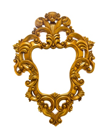 golden sculpture frame isolated  photo