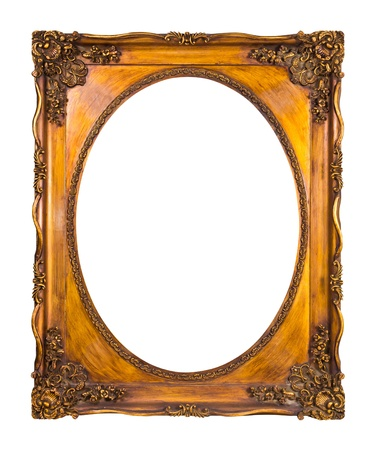 frame of golden wood isolated photo