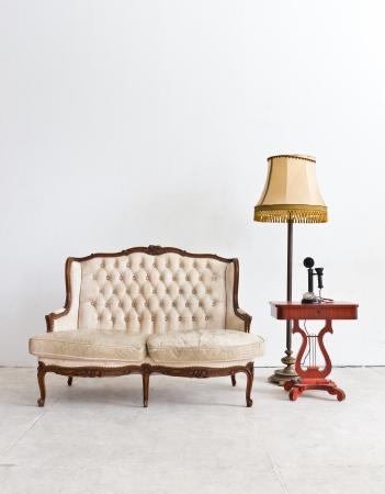 vintage luxury armchair in white room