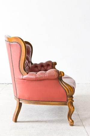 leather armchair: vintage luxury armchair in white room