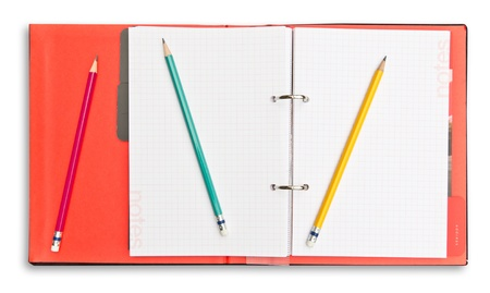 red notebook and pencil  photo