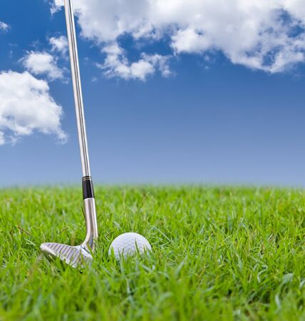 golf ball and iron on tall grass photo