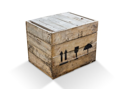 wood box isolated Stock Photo