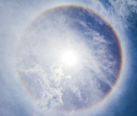corona: Corona on blue sky, the sun with the ring Stock Photo