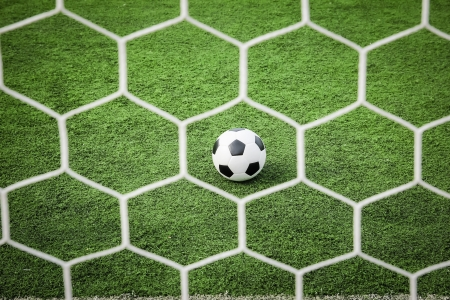 football on green grass in front of the net Stockfoto