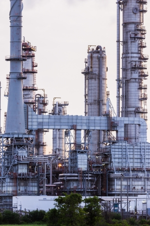 petrochemical plant: Oil refinery plant at twilight morning Editorial