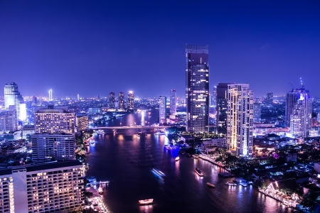 aerial view of chaopraya river in bangkok at twilight night photo