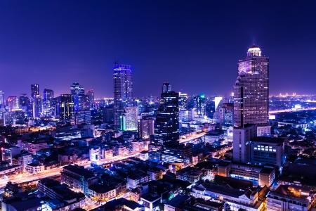 bangkok night: aerial view of bangkok at twilight night