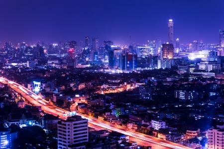 pattaya thailand: aerial view of bangkok at twilight night