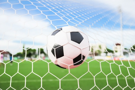 soccer ball in goal net photo