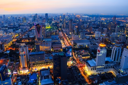 aerial view of bangkok at twilight night photo
