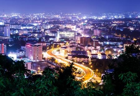 view window: pattaya city in thailand at night
