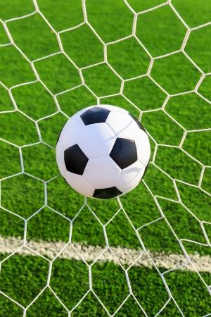 soccer ball in goal net Stock Photo - 16683072