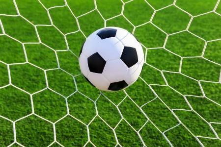 soccer ball in goal net Stock Photo - 16683073