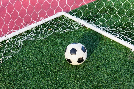 soccer ball on green grass in goal net photo