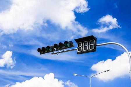 traffic signal: red traffic light against blue sky