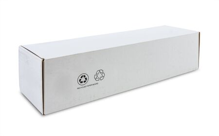 corrugated box: white recycle paper box isolated with clipping path