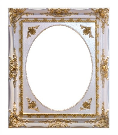 ornamentation: white wooden frame isolated with clipping path