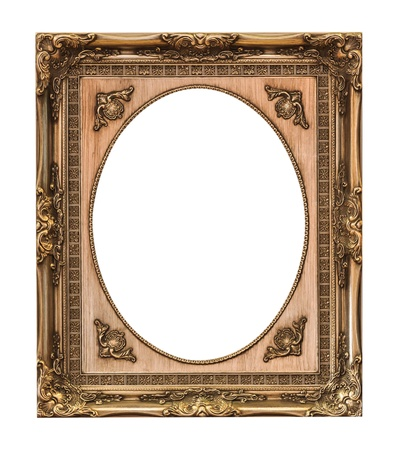 vintage photo frame: wooden frame isolated with clipping path Stock Photo