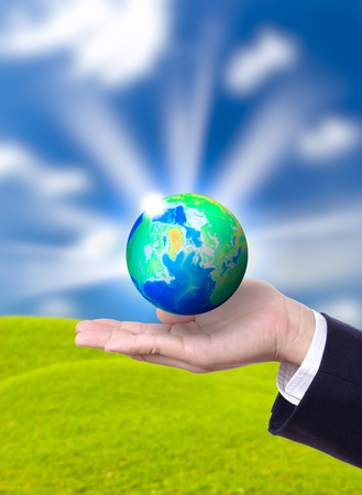 earth globe on hand Stock Photo - 17680108