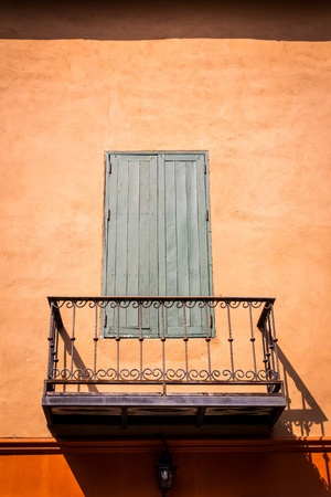 vintage gray wooden window and balcony photo