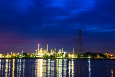 Oil refinery plant at twilight morning photo
