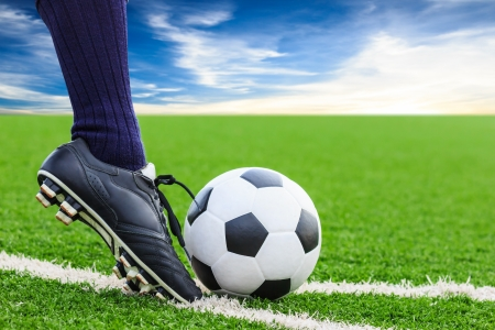 soccer ball: foot kicking soccer ball