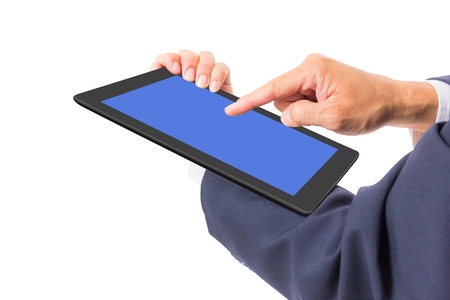 business man hand touching tablet PC photo