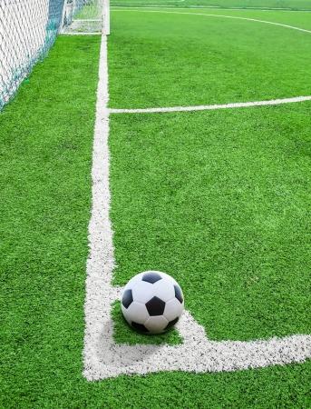soccer ball on conner photo